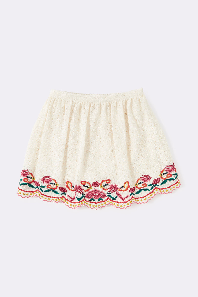 lace skirt with embroidered hem , Cream ,Above knee length