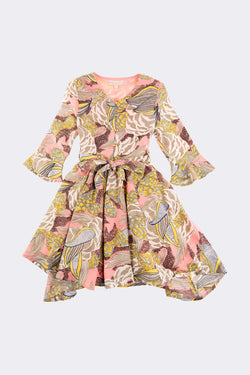 Multi printed and coloured long sleeve girls dress which goes below the knee.
