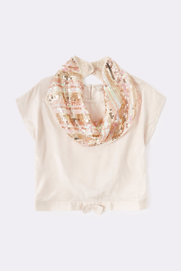 Gold top with sequin scarf , short sleeve, with pink bow at waist
