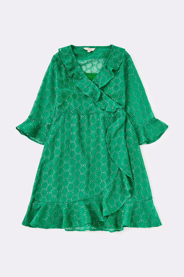 Broderie wrap dress with frill detail  Green Knee length 3/4 sleeve