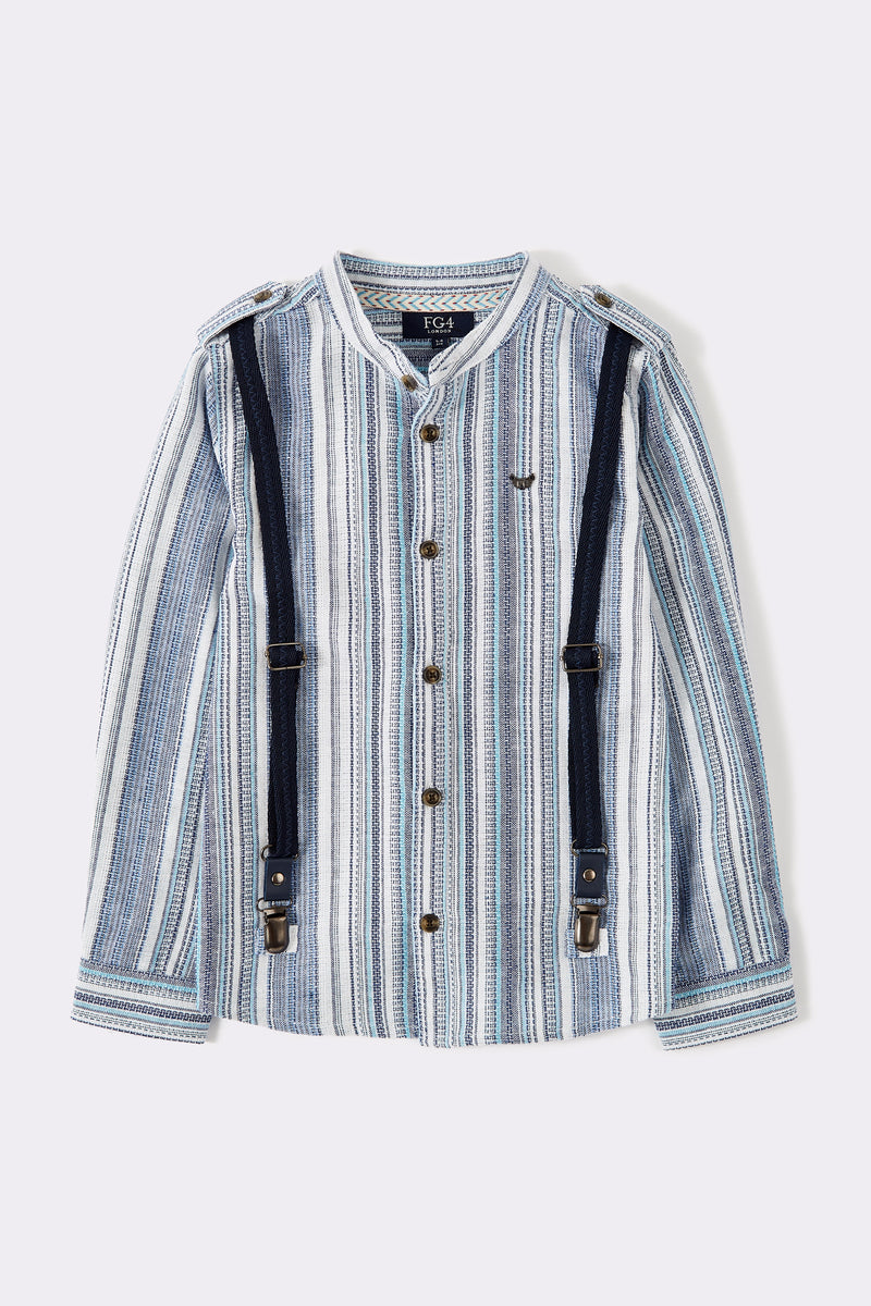 Multi Stripe long sleeve boys shirt with front buttons, grandad collar and detachable braces