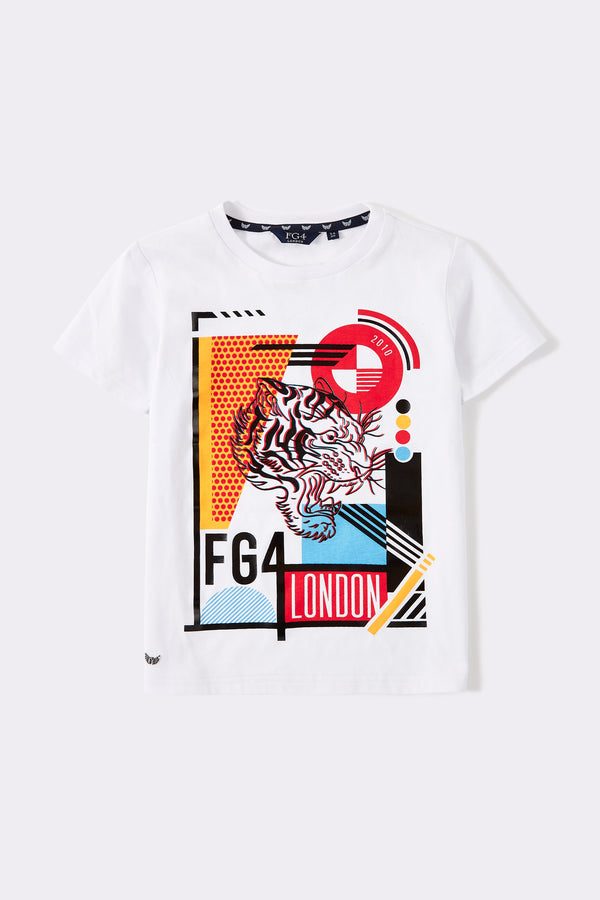 White short sleeve boys t-shirt with multi coloured pattern print