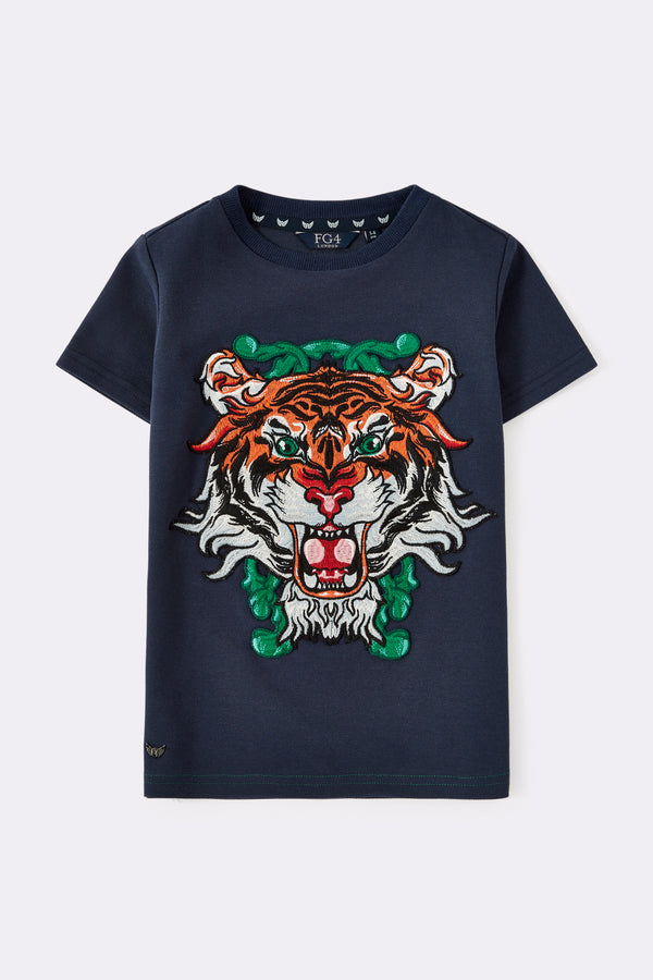 Round neck shorts sleeves tee, Navy color, with big tiger print