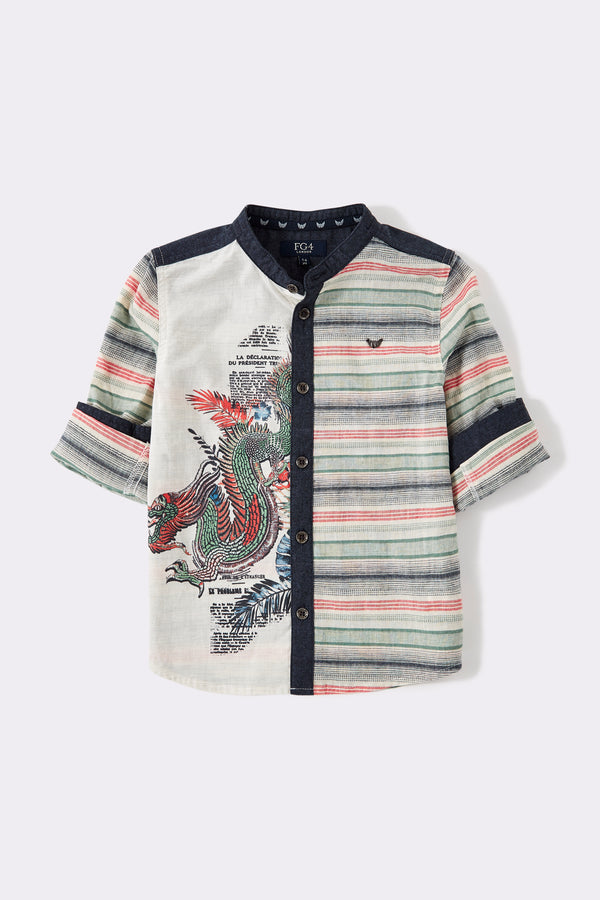 boys shirt with round collar, multi print details.
