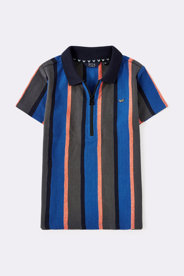Multi stripe short sleeve boys polo shirt with zip front