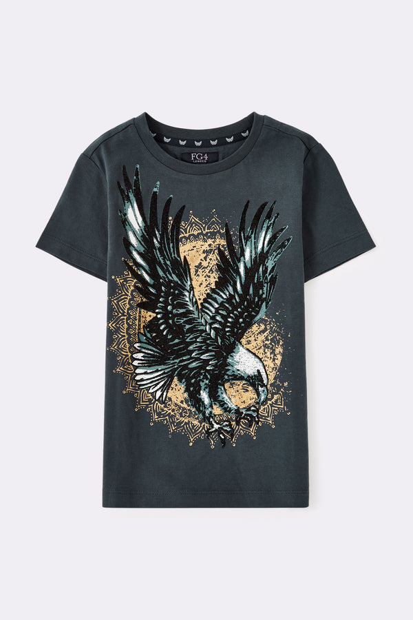 Black round neck t shirt with large eagle print on the front