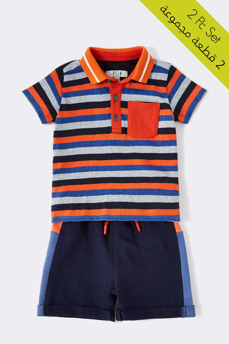 striped polo t-shirt with multi color, short sleeve with collar t-shirt & Navy blue short