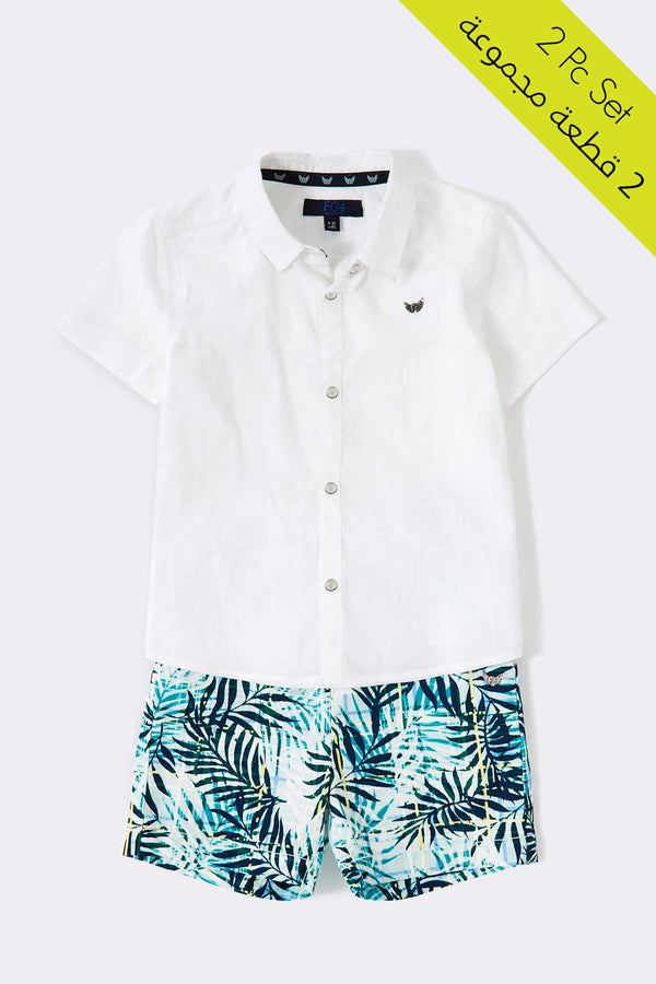 5 button with collar white color shirt, short sleeve shirt, multi printed short