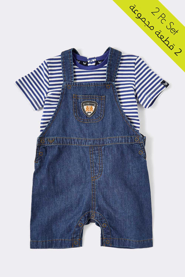 baby boy 2 piece set, Denim-suspender dress with blue stripped t-shirt
