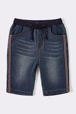 Blue denim pull on stretch boys shorts with draw cord and elasticated waist