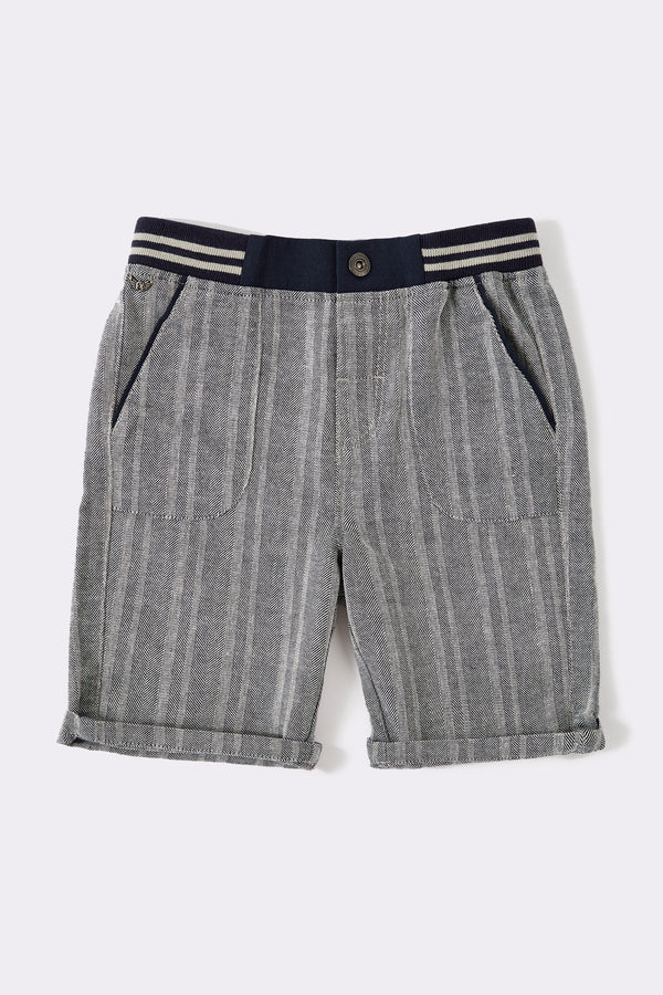 Knee length Denim textured boys shorts with elasticated waist and front button