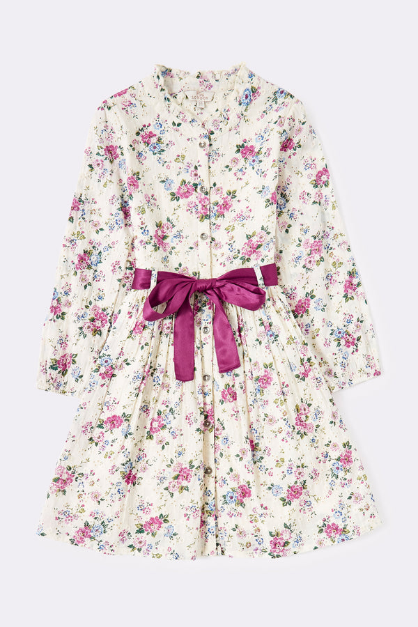 Floor print , Girls dress, white with pink flowers all over, fancy ribbon belt in purple