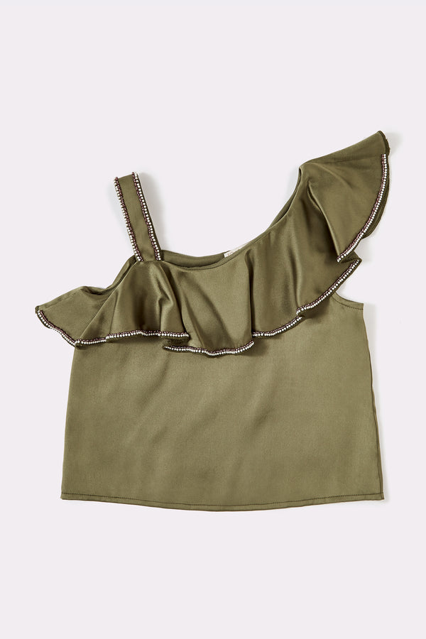Strappy Khaki sleeveless girls top with frilly trim