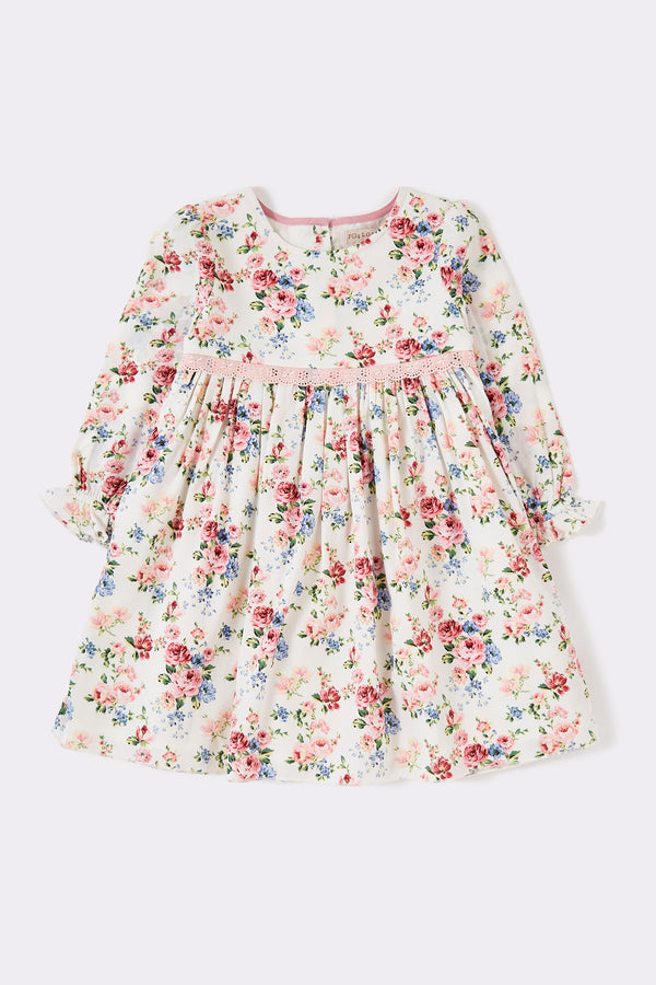 Girls multi foral long sleeve knee length dress with round neck