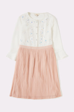 Two in one girls dress look with pleated skirt and front button opening top