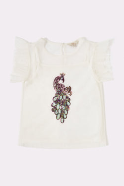 Girls short cap sleeve cream top with hand embellished print on front