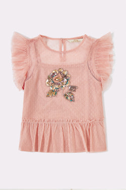 Pink short sleeve top with front embellished print and frilly trimmed sleeves