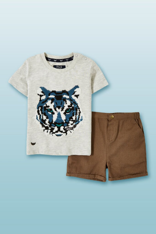a set of toddler boys tee round neck in white with tiger print in front and brown shorts button zip