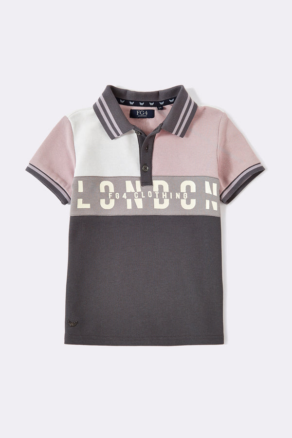 Multi colour boys polo shirt with London text print and front buttons