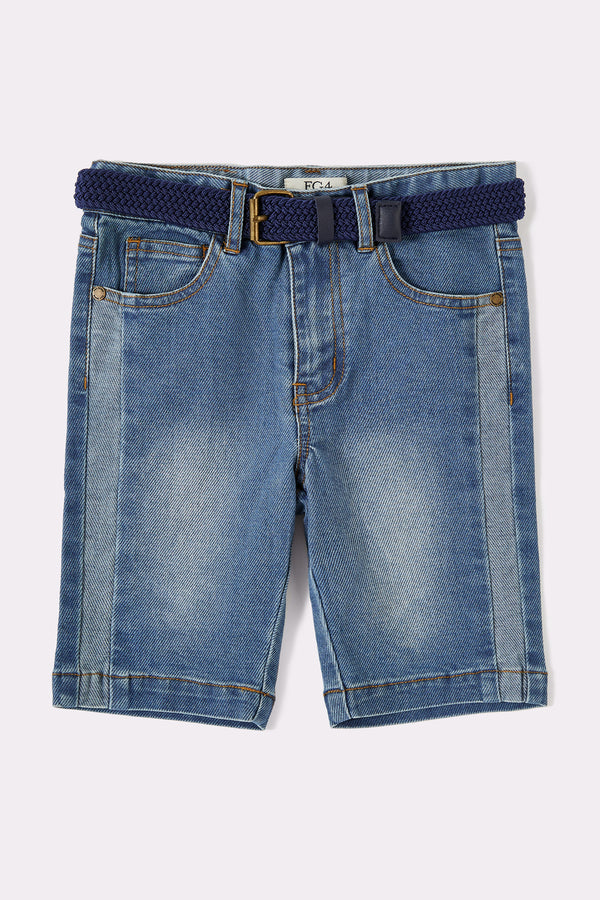 Denim blue boys shorts with pockets and detachable belt