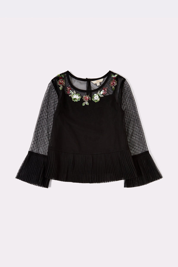 Black Long sleeved Floral embellished top