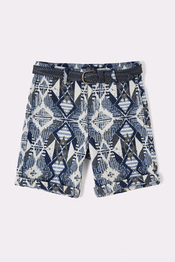 Multi Print boys shorts with pockets and detachable belt