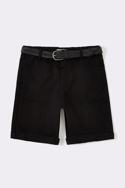 Black knee length boys shorts with straight side pockets and detachable belts