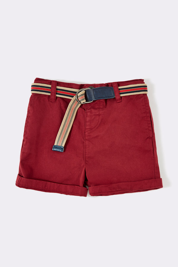 five pocket short in red color, detachable belt with plain short