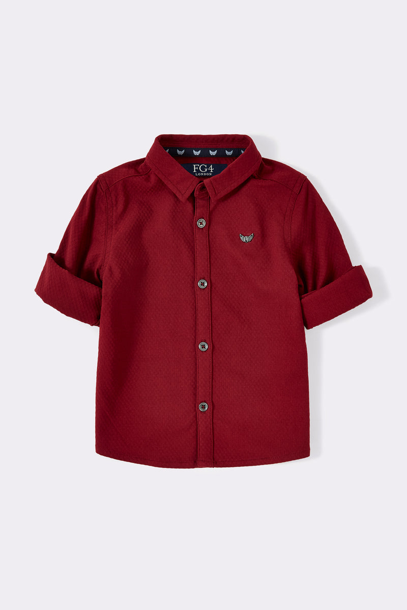Burgundy boys roll up long sleeve shirt with collar and front opening buttons