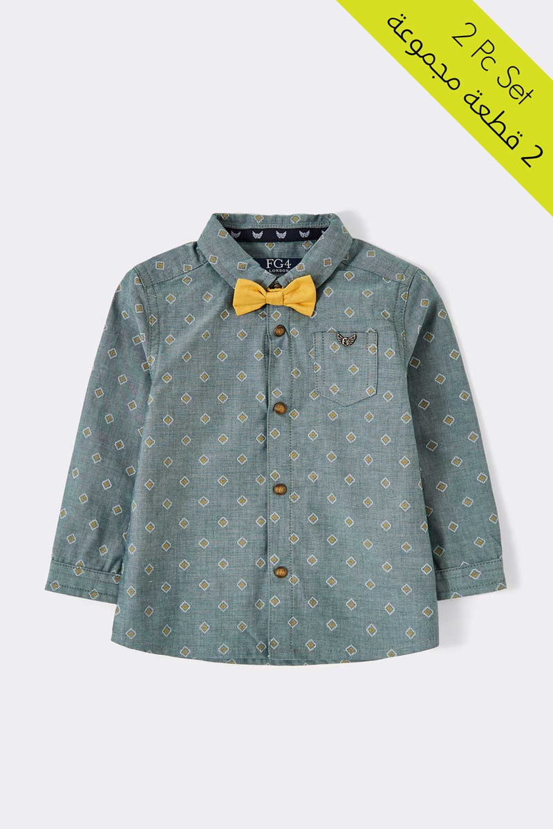 green colour collar shirt with detachable bowtie, long sleeve with 5 buttons shirt