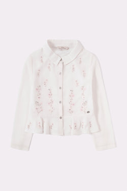 White floral girls shirt with long sleeves, round collar and floral hand embellished print