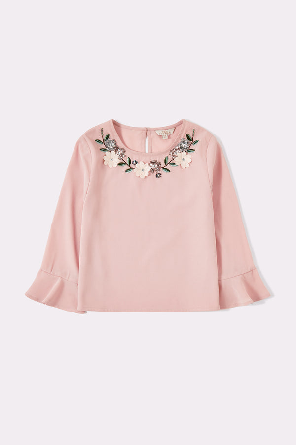 Round neck pink long sleeve top for girls with embellished collar pattern and frill finish sleeve