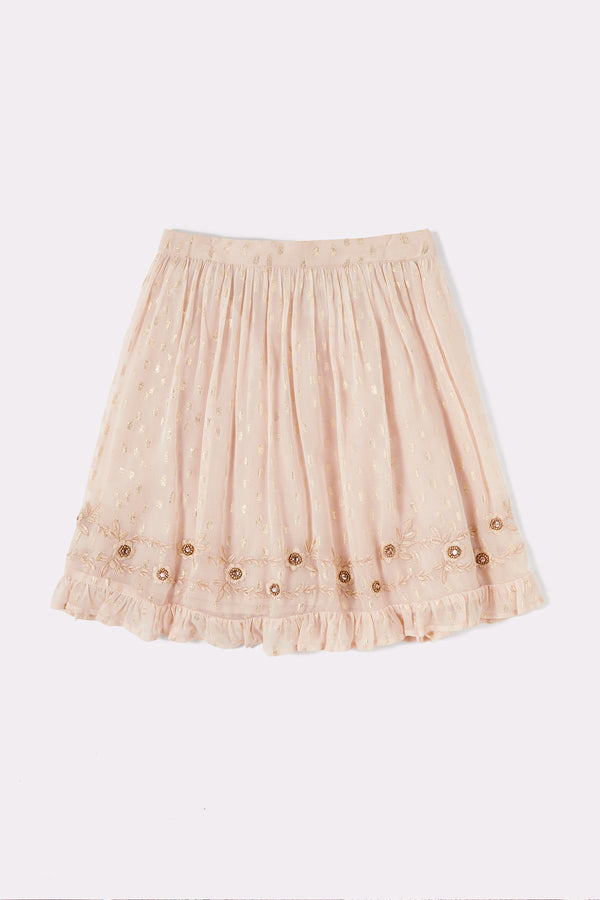 Gold girls knee length skirt with embellished detail
