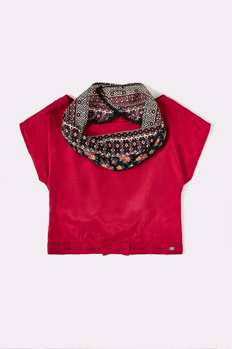 Red short sleeve girls top with detachable scarf