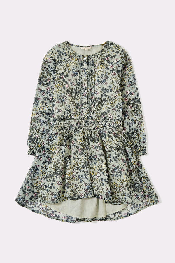 Green floral printed long sleeve girls dress with round neck, layered skirt and front opening buttons