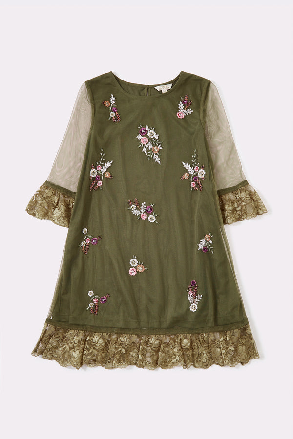 Green long sleeve knee length girls dress with with lace detail and embellishment detail on front