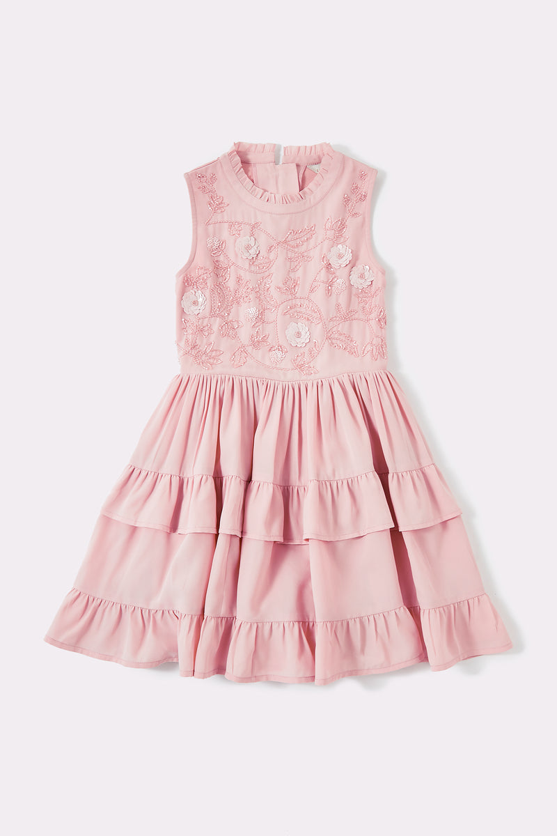 Girls pink sleeveless above the knee embellished dress with tiered skirt