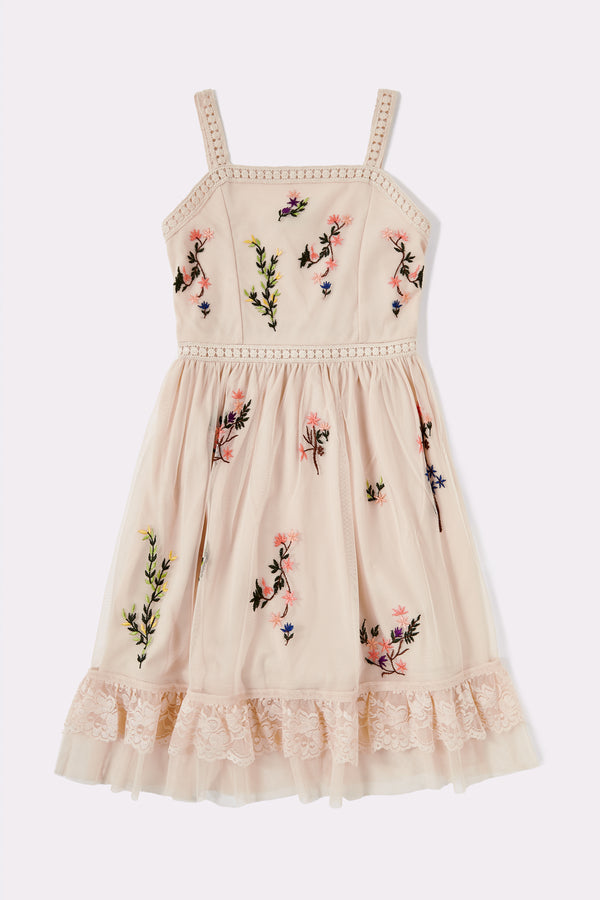 Sleeveless strappy Stone girls dress with lace and embroidery detail on front