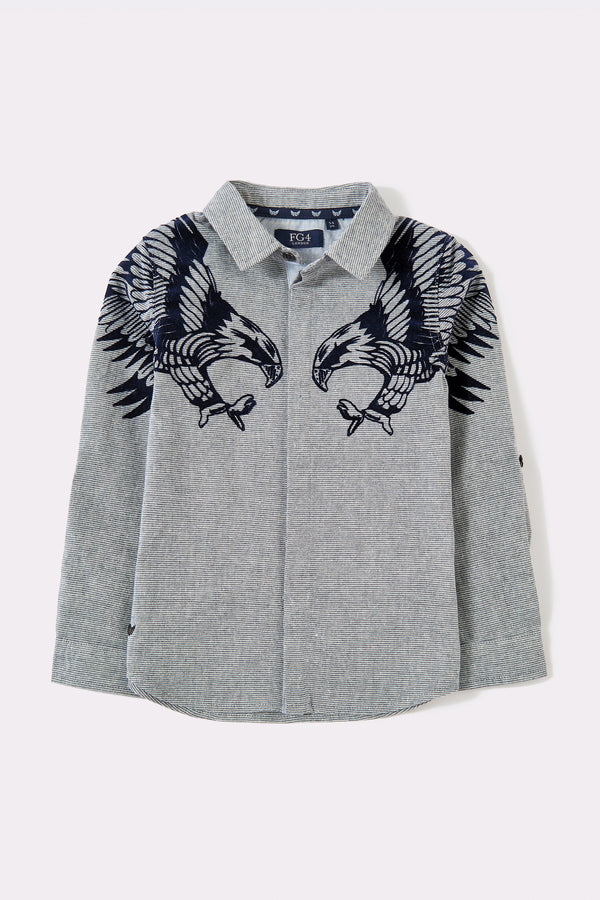 Grey long sleeve boys shirt with front graphic print on shoulders and hidden front buttons