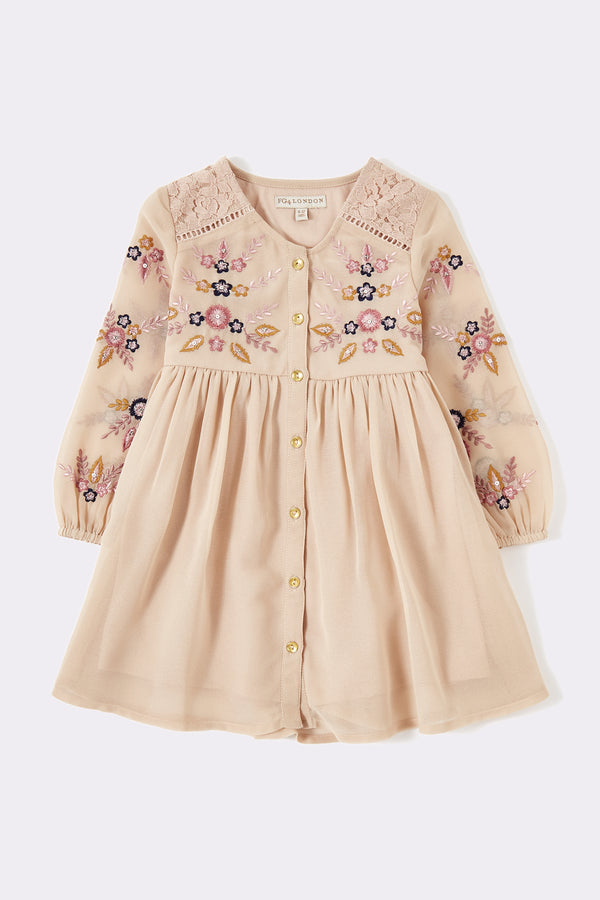 Girls pink long sleeve dress with hand embellished details and front opening buttons