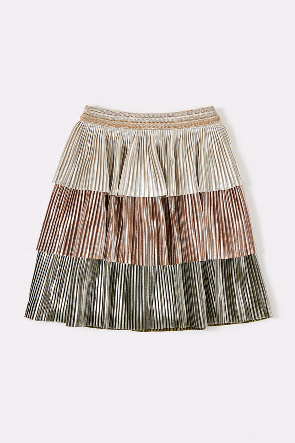 Shiny tiered multicolour girls skirt with elasticated waist for comfortable fit