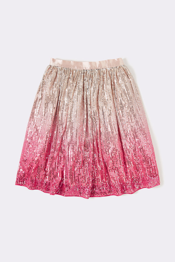 Ombre sequin skirt  Pink Below knee length