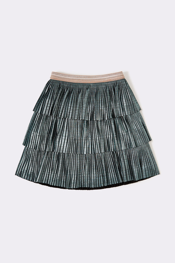 Sage green, tiered knee length skirt,