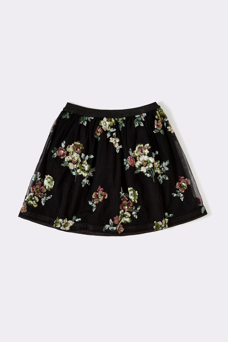 black mesh skirt with full floral pattern ,