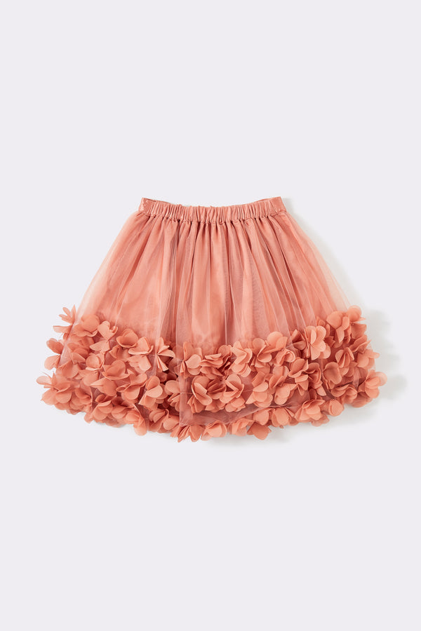 full mesh skirt, pink, with flower embellishment  hem,mid length