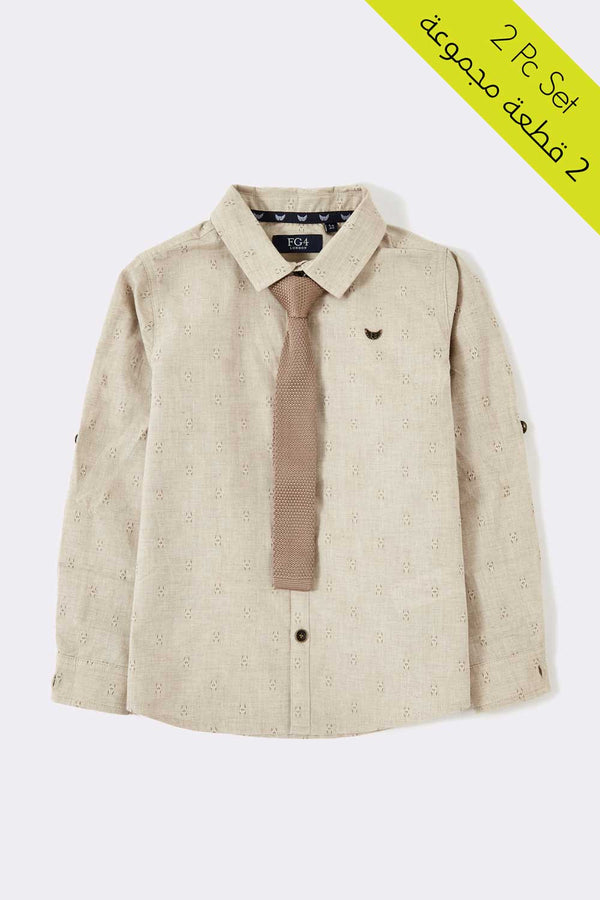 Grey long sleeve boys shirt with front buttons and tie