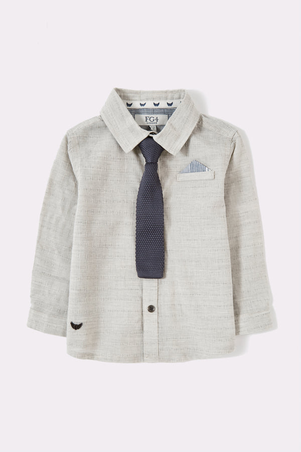 Grey color shirt with long sleeve, detachable tie with collar shirt