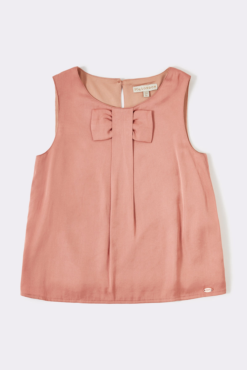 Girls Peach sleeveless top with front bow