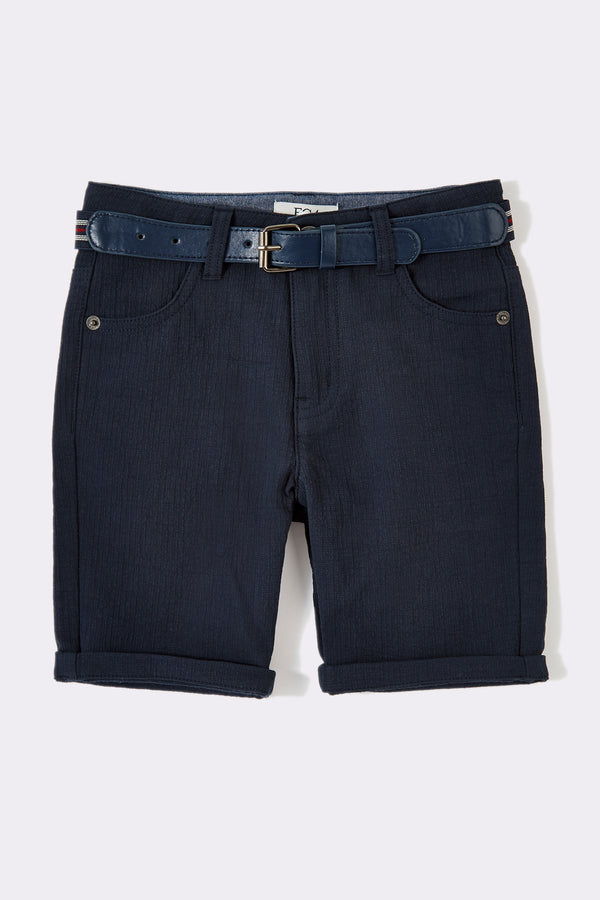 Navy boys knee length boys shorts with detachable belt
