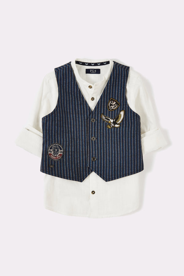 2 in 1 boys smart dress up set with long sleeve grandad collar white shirt and navy stripe waistcoat